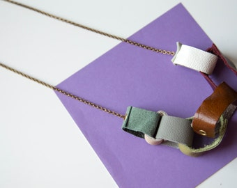 Reconstructed Leather Paper Chain Necklace