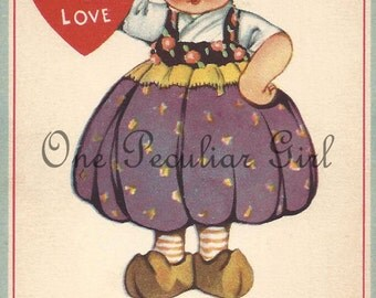 "Antique Valentine postcard of a little Dutch girl holding a red heart ""To One I Love"" INSTANT Download"