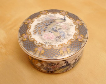 Vintage Peacock Porcelain covered box in original box    Floral Peacock Design    Made in Japan    New Peacock covered box