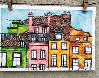 WARSAW POLAND Original 7.5x11.5 Ink and Watercolor Painting