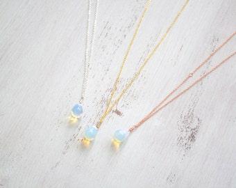 Bohemian Moonstone Teardrop Necklace - Mermaid Jewellery - Opalite Necklace - Opalite Teardrop Necklace - Moonstone Teardrop Pendant B1