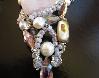 Lovely Rose Quartz Pearl Wire-wrapped Necklace