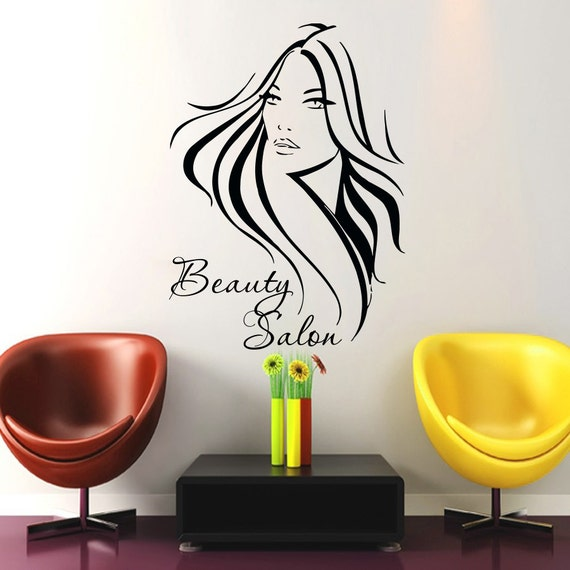 Wall decals beauty salon girl vinyl sticker decal by cozydecal for Stickers salon