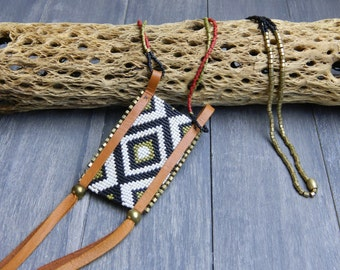 Two Grey Hills Hand Beaded Long Boho Leather and Brass Neckalce