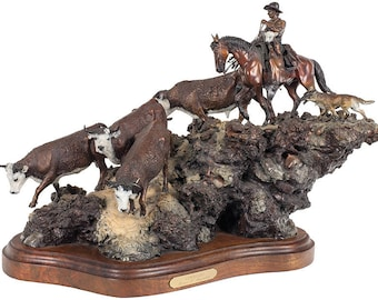 "Western Decor : James Regimbal, Bronze Sculpture, Signed, Limited Edition, 26/50. ""Cowhands"", 1989, #590"