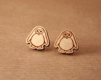 Laser cut wooden earrings - Penguins earrings. Wooden earrings. Stud earrings. Funny earrings. Animal earrings.