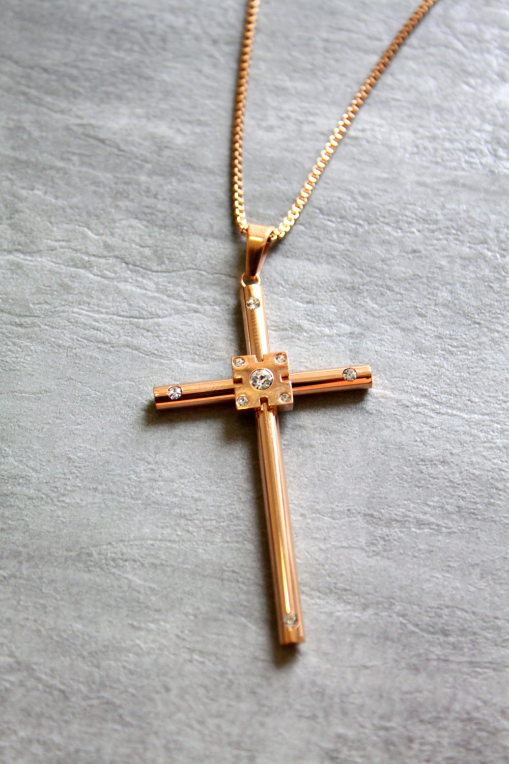 18k rose gold necklace with rose gold cross with zirconia. Black Bedroom Furniture Sets. Home Design Ideas
