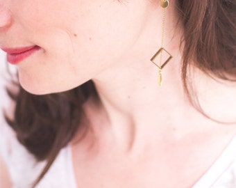 Geometric brass earrings, drop and string