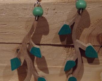 Wood earrings, beech little branch, painted leaves
