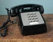 Olc Black Phone AT&T Push Button Desk Retro Phone Telephone Plastic ATT Western Electric Mad Men 60s 70s 80s
