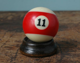"Red Stripe Billiard Pool Ball No. 11 Size 2.25"" Striped White Paperweight Decor Plastic Bakelite Display Man Cave Old Vintage"