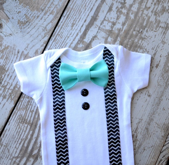 Baby boy clothes infant aqua custom bow tie suspenders bowtie for Baby shirt and bow tie
