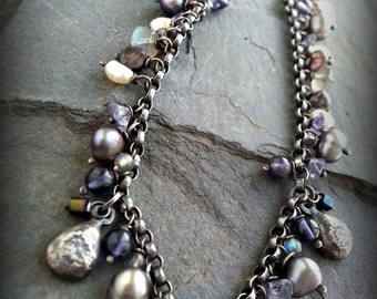 Sterling Forest Floor Statement Necklace, FW Grey Pearls, Faceted Tanzanite,Iolite Beads, Oxidized Sterling Charm Necklace, Fringe Necklace