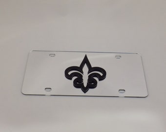 New Orleans Saints Football laser cut acrylic mirror license plate