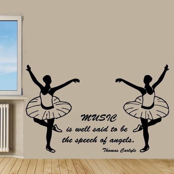 Ballet wall decals girl dance music quotes ballerina gym decor for Ballerina wall mural