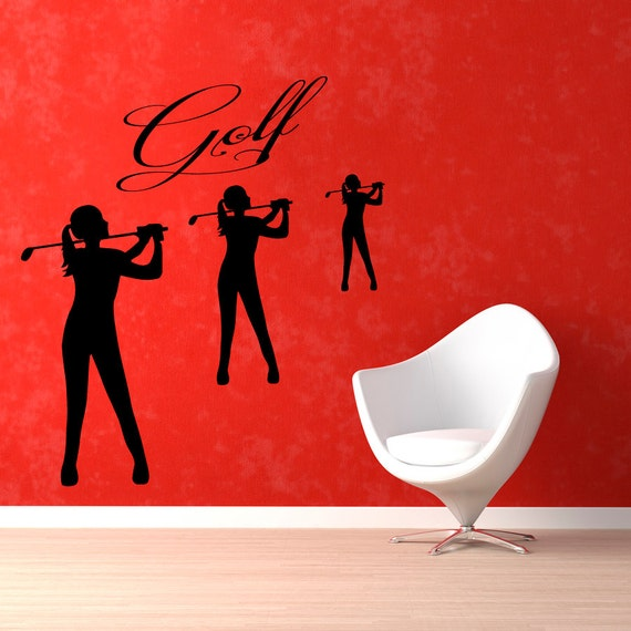 Golfer Sports Girl Wall Decal by WallDecalswithLove