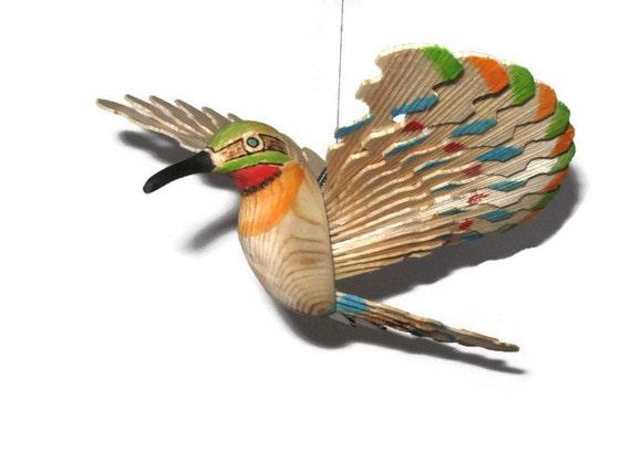 Colorful hummingbird art wooden mobile handcarved wooden bird for Mobili wooden art