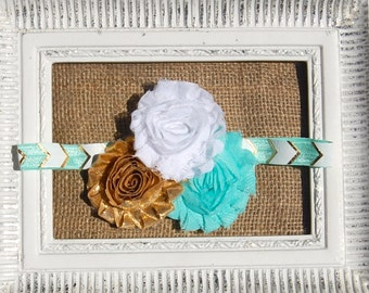 Aqua, gold and white headband, aqua gold and white baby headband, aqua gold and white baby