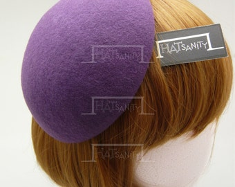TRENDY x CUTE Fashion Plain Wool Felt Mini Beret Fascinator - Purple