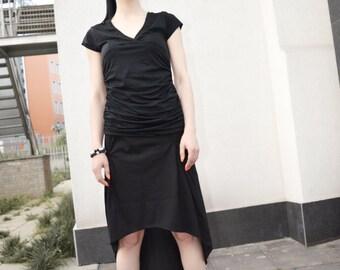 Black  Asymmetrical Skirt / Extravagant High Low Skirt / Casual Skirt/ Futuristic skirt zm028