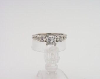 1.04 carat T.W. Princess & Round Cut Certified Diamond Ring. Platinum