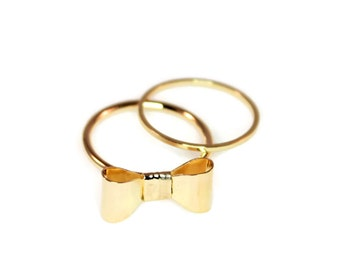 Gold Bow Midi Ring Set