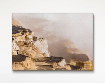 Yellowstone Print, Rocky Landscape Canvas, Living Room Decor, Brown Wall Art