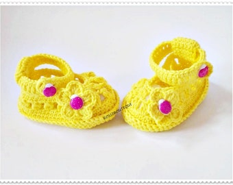 Yellow  baby shoes, Crochet baby shoes, Summer baby sandals,  Baby booties, Ladybug shoes, Baby shawor gift, Baby girl shoes, Photo prop