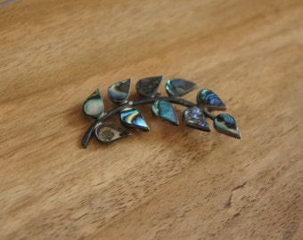 Vintage  Jewelry Brooch  Branch with Leaves Sparkly Turquoise  Stones Leaf Sterling Silver 925  W-129