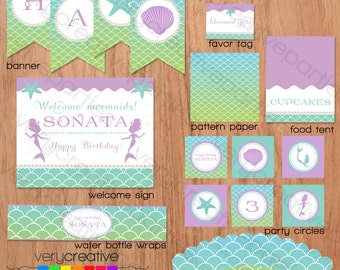 Mermaid Birthday Party Decorations - Mermaid Party Printables