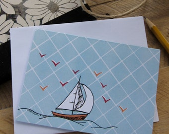 Hand Drawn Notecard - Blank Notecard - Sailboat Notecard - Illustrated Stationary