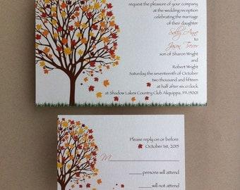 Fall Tree Wedding Invitation Set • Fall Wedding Invitations • Autumn Wedding • Wedding Invitations • Fall Leaves Wedding • Invites