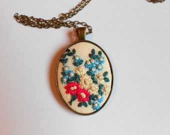 Embroidered Flower Necklace Long Chain Necklace Fabric necklace Mothers jewelry gift Unique gifts for her