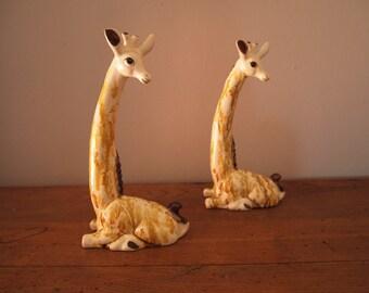 Mid Century Decor Statue Giraffe Ceramic