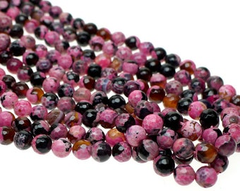 Fire Agate Beads, Round Pink Fire Agate Beads, 8mm Faceted Round Agate Beads, Pink Round Fire Agate Gemstone Beads BD1714-23pc