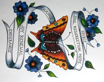 Custom Quote Print,Tattoo Art, Tattoo print,Personalized,Inspirational Art,Spiritual Art ,Wall Art,Bible Verse,Personalised,Butterfly Art,