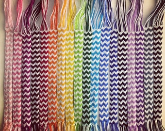 Double Chevron Friendship Bracelets (white plus color)