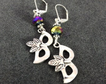 "Silver ""Mardi Gras"" Mask with Feathers Earrings."