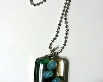 "handmade necklace OOAK ""Adding Up""  Geekery, Hipster,Techie, Kitsch, Cyberpunk, Upcycled, Futuristic, Gamer, Halloween, Sci Fi, Emo, Fantasy"