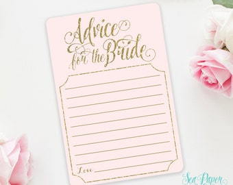 Ava Printable Advice For the Bride Card: Blush Pink & Gold Glitter Advice Card for Bridal Shower - INSTANT DOWNLOAD - Ava