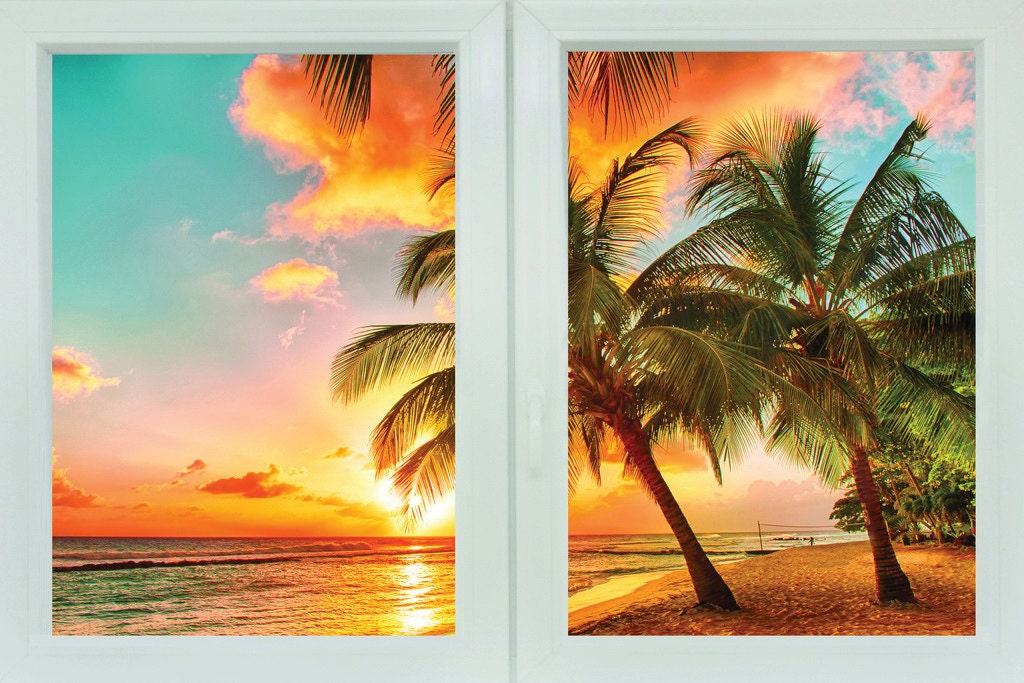 Faux window mural palmy beach sunset ocean beach by for Beach sunset mural