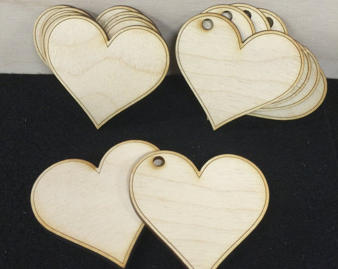 100 Wooden Hearts, Wood Heart Cutouts, 2.5 inch Gift Favor Tag, Place Card, Guest Book, Bridal Shower Hearts, Escort Card, Wedding Table