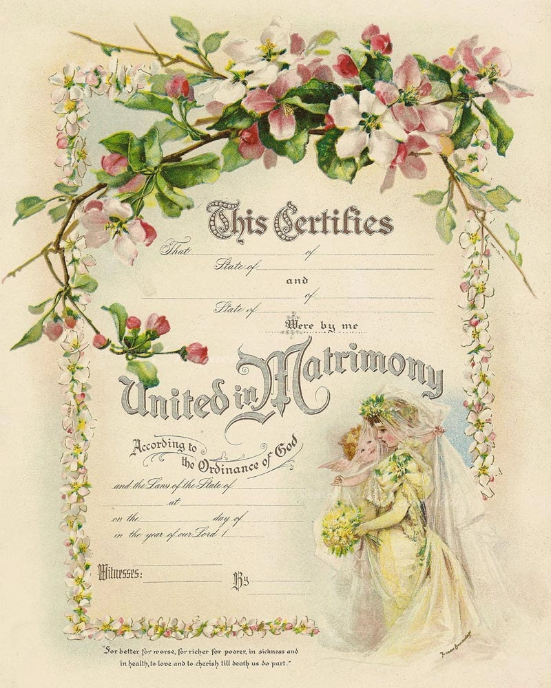 Printable marriage certificate romantic diy by weatheredmagnolia for Diy certificates