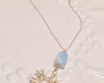 Gold Branch with Aqua Stone