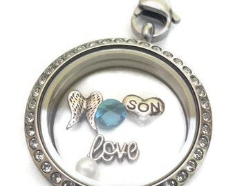 Death of a Son - Dearly Departed - Memorial Keepsake - Remembrance Gift - Floating Glass Locket in Silver Tone Stainless Steel with Chain