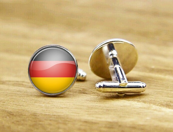 cufflinks, flag of germany cufflinks, custom national flag cufflinks, german flag cufflinks, round square cufflinks, tie clip or set