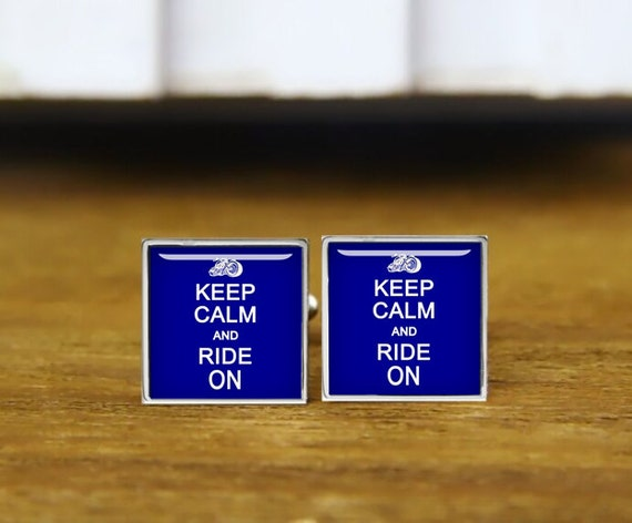keep calm and ride on cuff links, personalized cufflinks, ride on, custom wedding cufflinks, round, square cufflinks, tie clips, or set