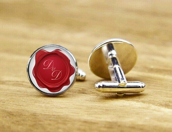 Wedding Monogram Cufflinks, Faux Wax Seal Font, Custom Initial, Personalized Cufflinks, Wedding Cufflinks, Round, Square Cufflinks, Tie Clip