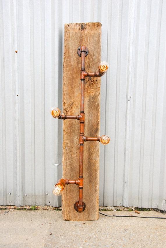 Handmade Brass Wall Lights : Custom steampunk handmade metal patina wall/ ceiling light