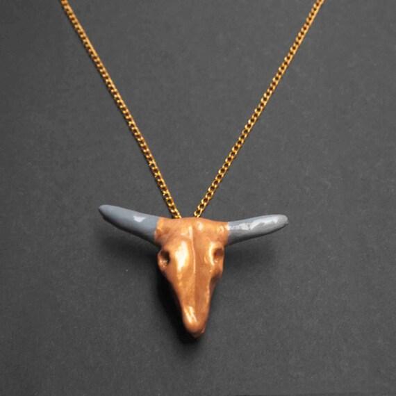 bull skull necklace craneo de toro collar hecho a by